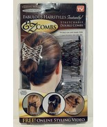Ez Combs Stretchable Double Hair Style Combs Caramel Bronze Dazzling Silver - $14.99