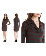 Red Haute Charcoal & Red Striped Cowl Neck Dress NWOT- Small $108 - $49.00