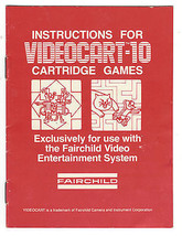 VTG ORIGINAL INSTRUCTIONS FOR FAIRCHILD VIDEO GAME SYSTEM CARTRIDGE VIDE... - $11.88