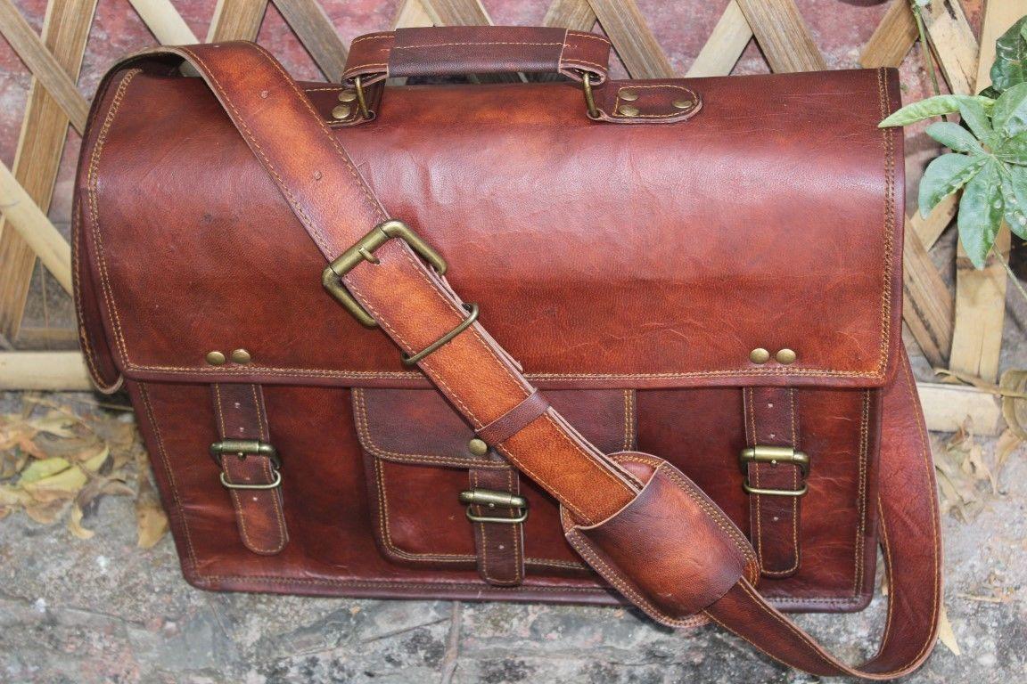 New Large Brown Leather Messenger Satchel Bag Shoulder Laptop Bag Briefcase