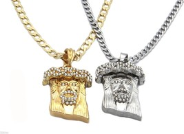 Gold Silver Plated Jesus Charm Micro Pendant 4mm Cuban Chain Necklace se... - £13.48 GBP