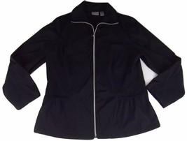 Chicos Zenergy Jacket Size 2 Black Large 3/4 Sleeve - $19.79