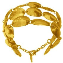 "Karine Sultan Matte 24k Gold-Plate Lucie Shell Bracelet,5.5"" L, Made in ... - $79.95"