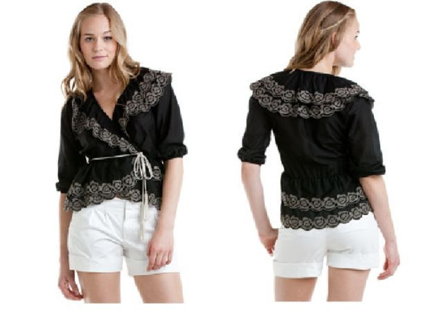 Primary image for Robbi & Nikki Black Embroidered Rose Top Small NWT $175