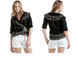 Robbi & Nikki Black Embroidered Rose Top Small NWT $175 - $71.68