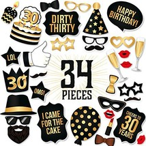 30th Birthday Party Photo Booth Props Kit Inclu... - $26.69
