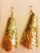 Women Handmade Brass Carved Dangle Earrings - $9.89