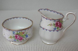 PETIT POINT Royal Albert MINI CREAMER & SUGAR BOWL SET Bone China Englan... - $22.30