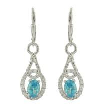 Sterling Silver blue topaz gemstone jewelry earring - $14.66