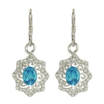 925 sterling silver earring jewelry blue topaz and white topaz gemstone - $17.92