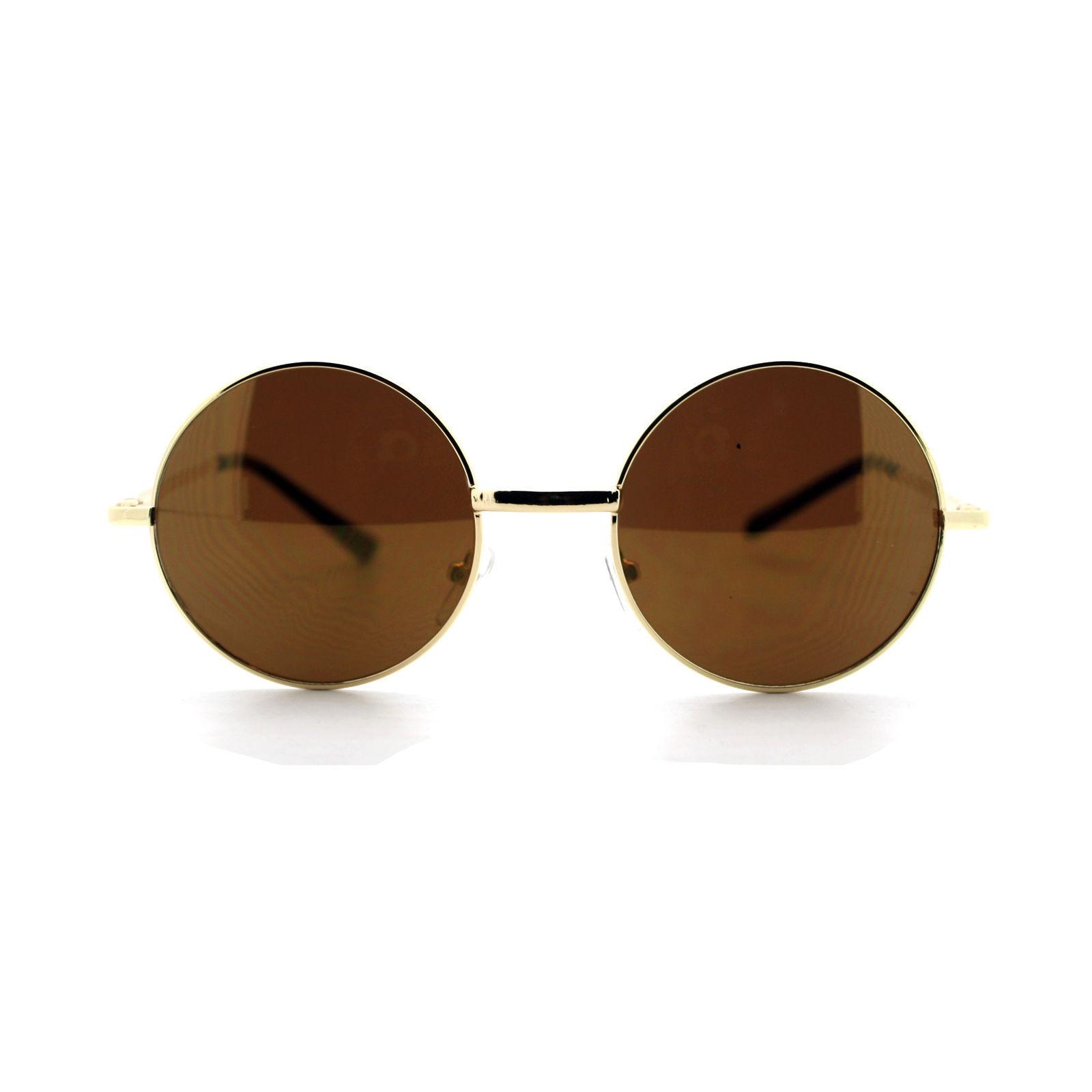 Round Circle Frame Sunglasses Thin Metal Spring Hinge Mirror Lens