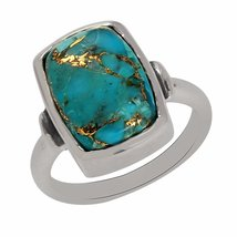 shine jewel 92.5 sterling silver blue copper turquoise rectangle ring - $19.01