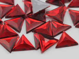 13mm Red Ruby .TM Flat Back Triangle Acrylic Gems - 50 Pieces - $4.59