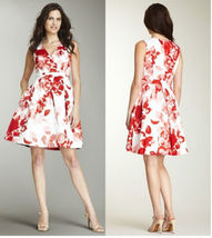 Ellen Tracy Coral Floral Watercolor Print Dress 2 - $89.81