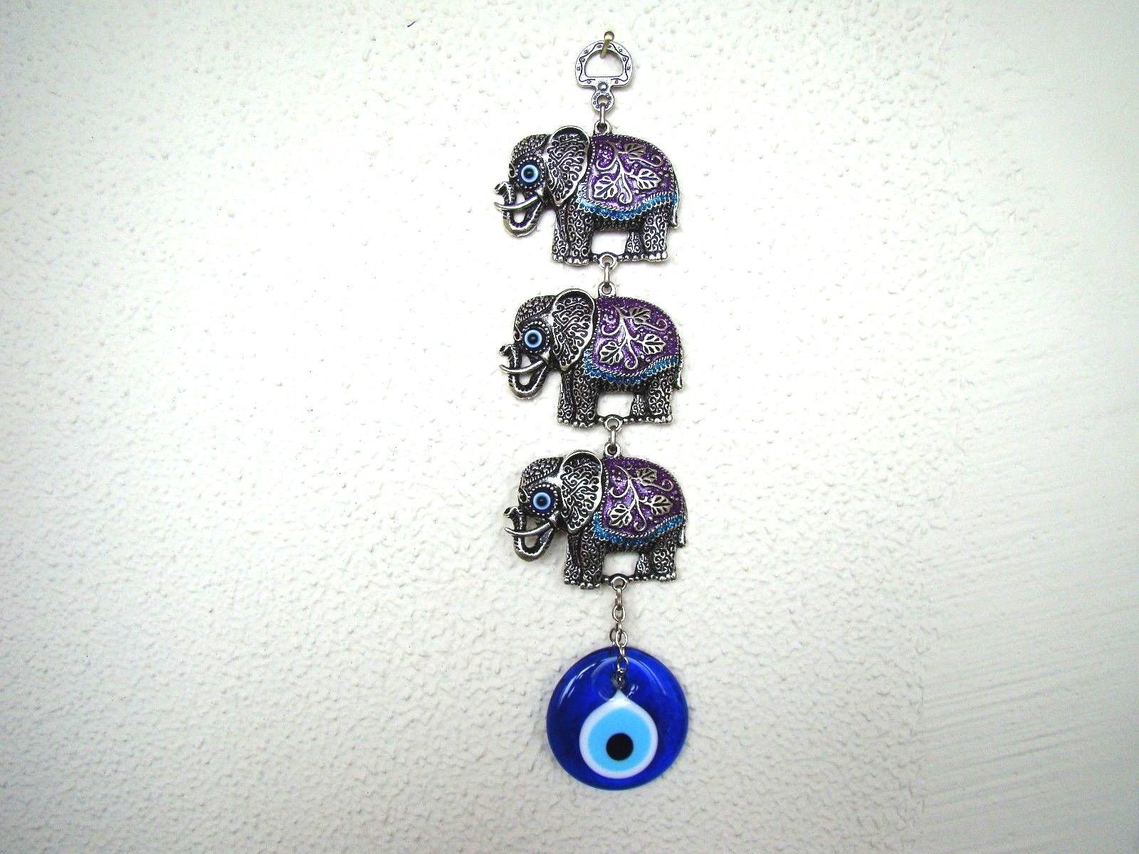 Wall Hanging Amulet Turkish Silver Plated 3 Elephents Purple & Evileye 27 cm