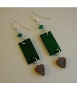 Green Wood Clay Beaded Earrings Handcrafted Uni... - $48.00