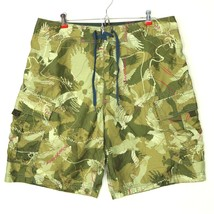 American Eagle Mens Swim Trunks Shorts Size 34 Cargo Green Camo Camouflage - $13.48
