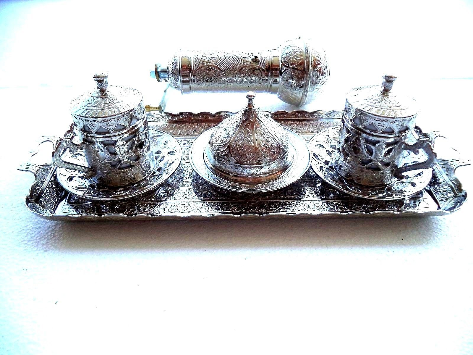 Turkish Ottoman Authentique Coffee Espresso Set & Adjusable Grinder Zamak