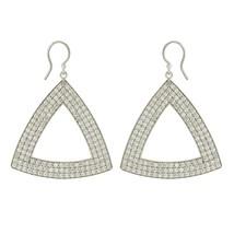 Trillion sterling Silver white topaz gemstone jewelry earring - $56.51