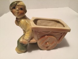 Vintage Shawnee Dutch Boy & Cart Ceramic Plante... - $13.10