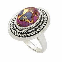 Shine Jewel 92.5 sterling silver oval cab purple turquoise ring - $19.80