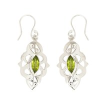 Natural Green Peridot 925 Sterling Silver Dangle Earrings For Women - $16.70
