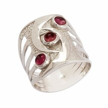 shine jewel 92.5 sterling silver pink tourmaline halo anniversary ring - $19.80