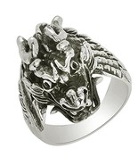 Shine Jewel Sholin Dragons Head Dark Oxidized 925 Silver Biker Ring - $41.18