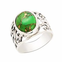 shine jewel 92.5 sterling silver green turquoise round filigree ring - $17.42
