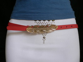 New Women Hip High Waist Thin Pink Fashion Narrow Belt Big Gold Feather Buckle M - $14.69