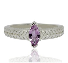 shine jewel 92.5 sterling silver pink tourmaline marquese ring - $13.85