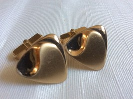 VINTAGE SWANK GOLD TONE METAL BLACK ELEGANT DESIGN CUFF LINKS - $21.78