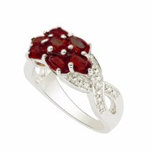 shine jewel 92.5 sterling silver garnet floral wedding ring - $17.42