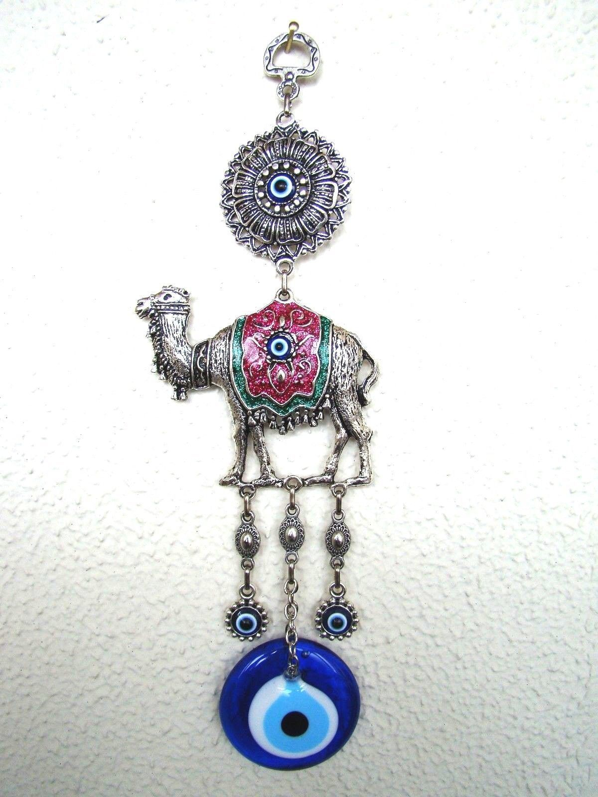 Wall Hanging Amulet Turkish Silver Plated Purple Color Camel  & Evileye 27.5 cm