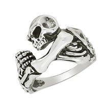 Shine Jewel Champion Skull Ride Collection 925 Silver Biker Ring - $22.96