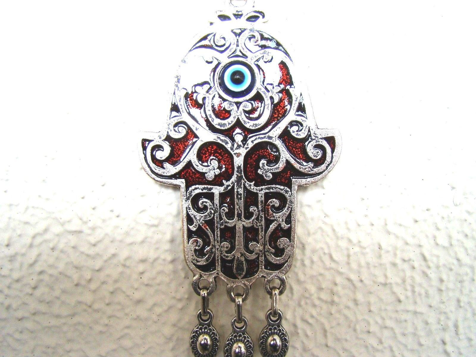 Hamsa Hand Religious Wall hanging Amulet  Silver Plated,Burgundy & Evileye 29 cm