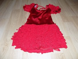 Size Large Kelle Metallic Red Foil Dance Unitard Leotard Tiered Ruffled ... - $24.00
