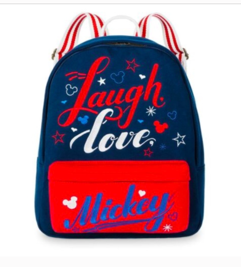 Disney Parks Laugh Love Mickey Mouse Backpack Red Blue Medium Americana  - $39.59