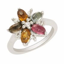 shine jewel 92.5 sterling silver multi tourmaline marquese floral ring - $37.22