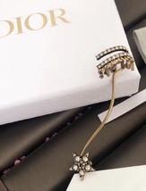 NEW AUTH Christian Dior 2019 J'ADIOR EARRINGS GOLD STAR CRYSTAL DANGLE image 9