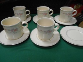 """Beautiful Collectible Pfaltzgraff """"Trousseau"""" 5 Cups & Saucers & 1 Free Saucer - $17.04"""
