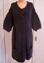 VINCE Dark Gray Long Cardigan Sweater Coat Wool Blend Sz Med GUC - $64.35