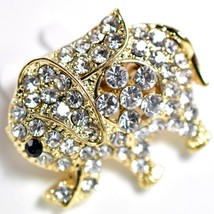 "Gold Tone Pave Crystal Elephant 1.25"" Pin Brooch New With Tags image 2"