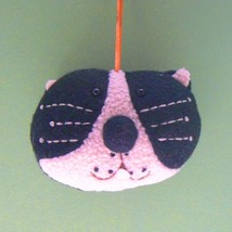 Black and White Terry Cat Head Christmas Ornament - $6.00