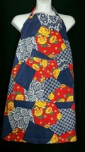 Vintage Apron Patchwork One Size Cotton Cooking Gardening Pockets 1970's - $12.86