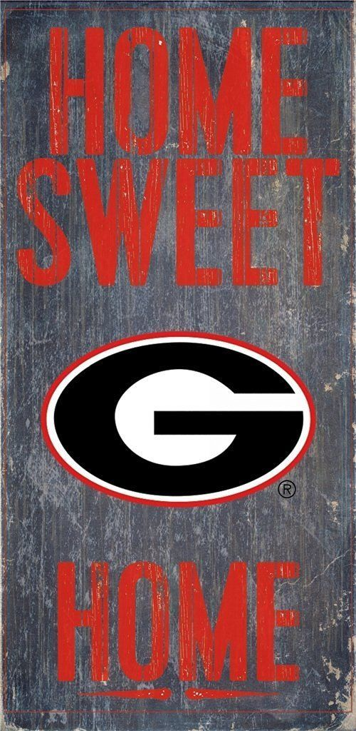 """GEORGIA BULLDOGS HOME SWEET HOME WOOD SIGN with ROPE 12"""" X 6""""  NCAA MAN CAVE!"""