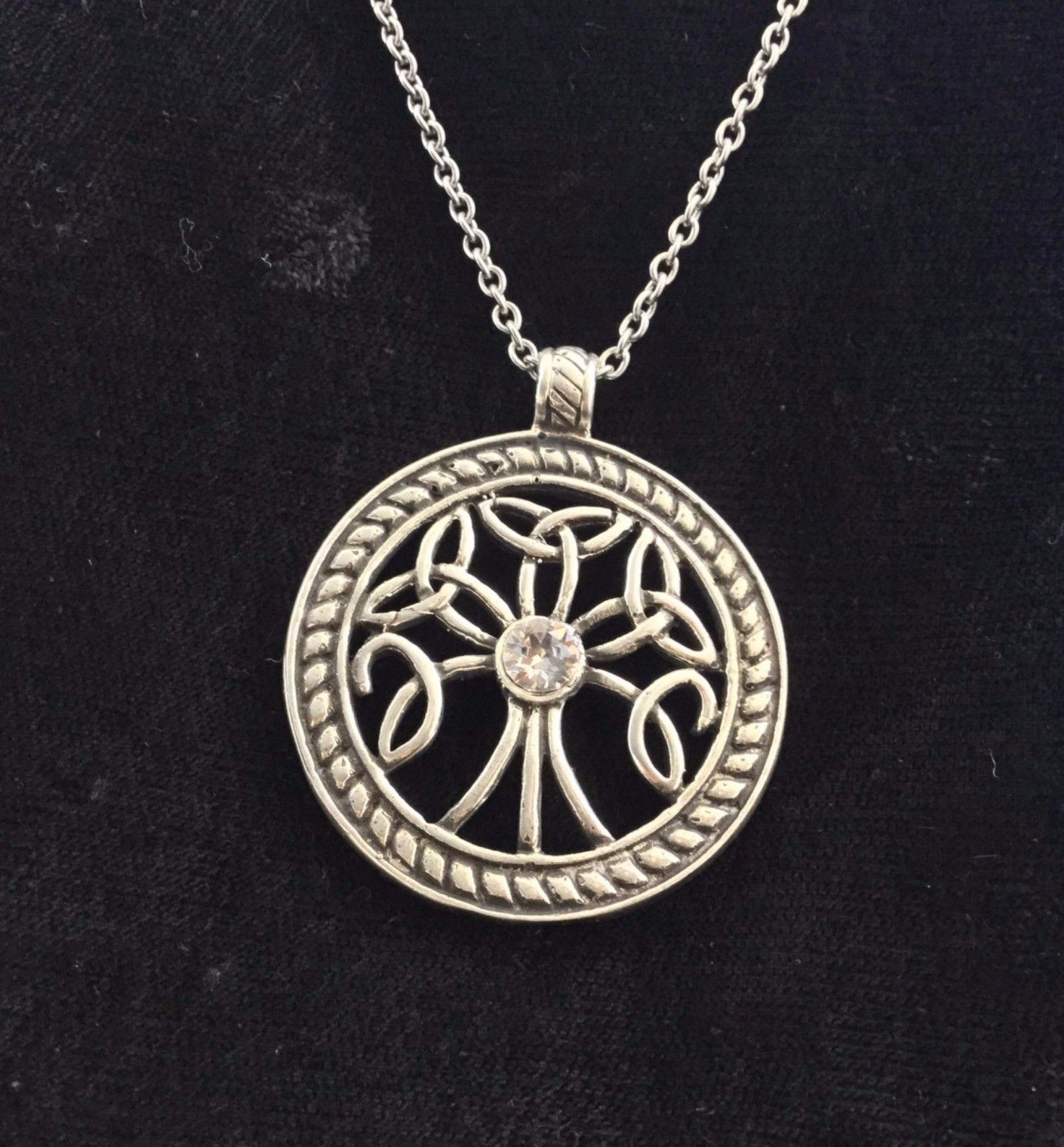 Large SILVER Handcast TREE of LIFE Trinity Knot Pendant FREE Cable Chain