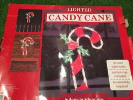 NEW Christmas 43 Light andy Cane With Holly Window/Wall Decoration - $9.89