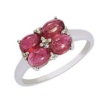 Shine Jewel 925 sterling silver four square pink tourmaline ring - $17.42