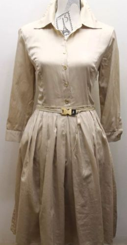 Ellen Tracy Women Dress Brown Safari Long Pleated L/S Gold Buckle Belt 10